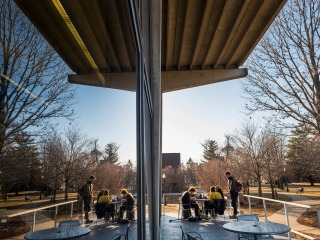 Students studying outside Burling Library