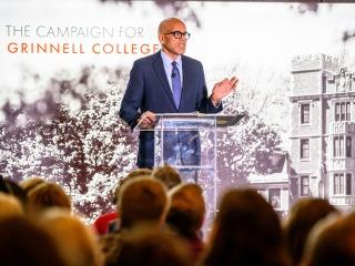 President Raynard S. Kington addressing alumni and friends