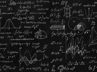 blackboard with mathmatics and physics formulas