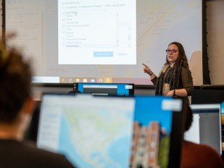 Katie Walden gives a presentation about digital mapping.
