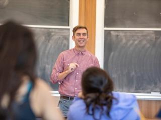 Tim Dobe teaching a religious studies course
