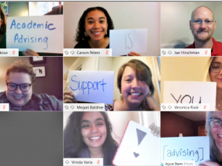 staff in online conference holding signs that read Academic Advising is here to support you