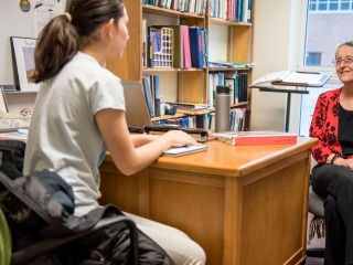 Faculty member advising a student