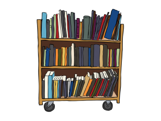 A handdrawn bookcart with books