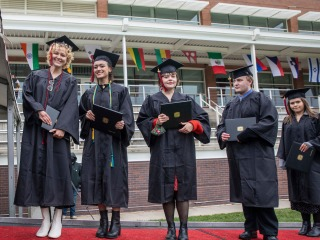 Students in line at commencement
