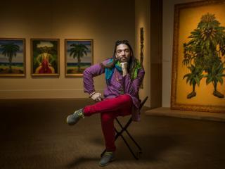 Fredo Rivera in Hatian art gallery
