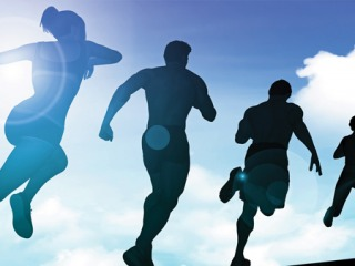 Graphic of students running