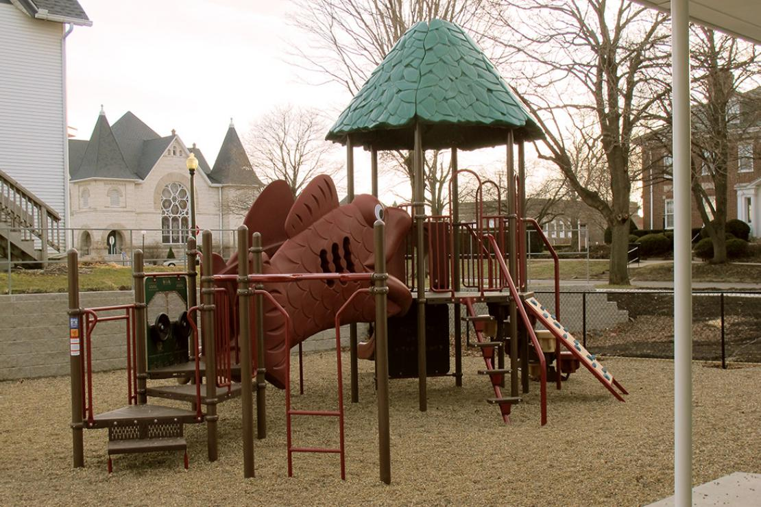 Playground equipment with steps up to a red fish-shaped ramp to an upper platform with railings and covered with a green roof textured like leaves. The area below the play equipment is small round gravel, and it is all surrounded by a fence.