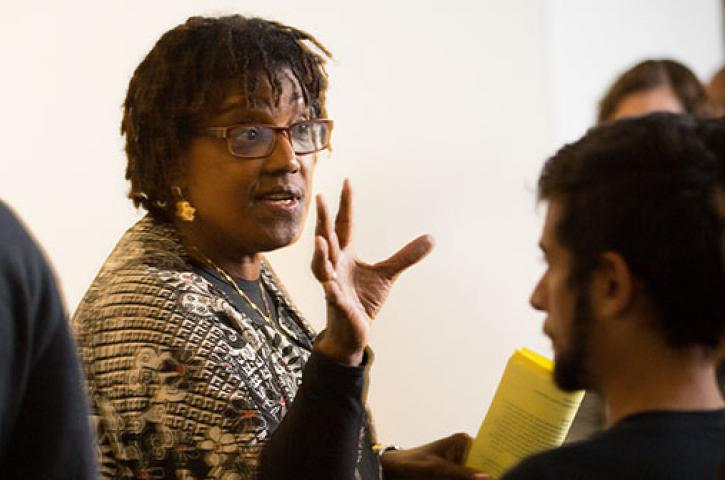 Kesho Scott speaks to her students in her Iconoclast course.