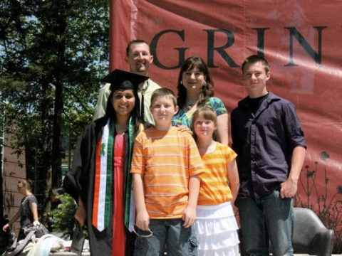 Sneha Saigal '12 with her American host family on graduation day