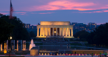 The Lincoln Memorial at twilight.