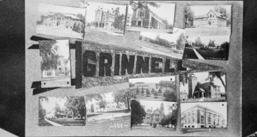 """Postcard picturing Grinnell pennant and photos of campus """""""