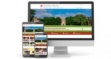 Desktop, tablet, and phone views of the new Grinnell alumni site
