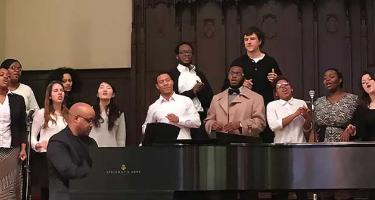 Black Church choir accompanied by pianist