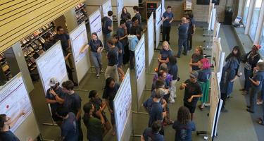 Students and faculty discuss chemistry summer research posters.
