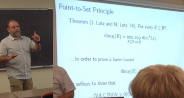 Jack Lutz talking with projected image showing Point-to-Set Principle theorem.