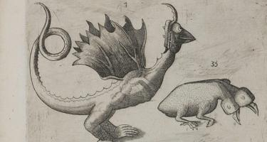 Detail of dragon and two headed beast