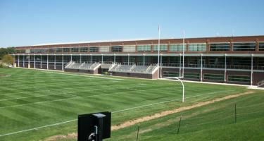 Football field and west side of Grinnell College fieldhouse