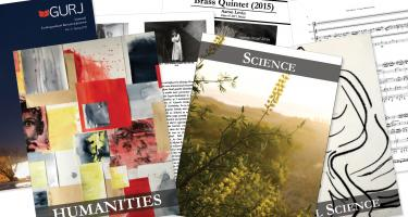 Selection of pages from Grinnell Undergraduate Research Journal vol. 3, spring 2016, showing the Humanities, Science, and Social Science divisions and some pages from a mix of articles