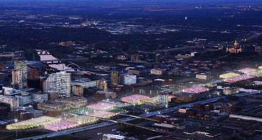 Rendering of proposed Downtown Des Moines Agricultural Corridor, a string of large greenhouses and vertical farms