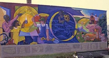 Mural, Eclipse at Park & Third in Grinnell, Iowa
