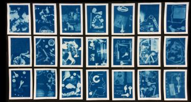 Elementary student cyanotypes using a wide variety of organic and inorganic items