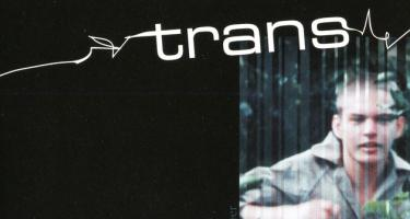 Detail of image from trans poster, jagged line and person running
