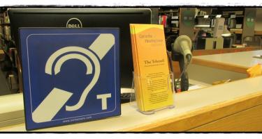 Hearing Loop Symbol in Grinnell College Libraries