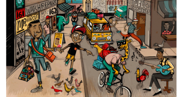 Colorful cartoon street sceen includes a giraffe riding a bicycle