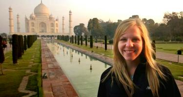 Lilliana Bagnoli in front of the Taj Mahal and reflecting pool