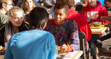 Students dining in the Marketplace dining hall