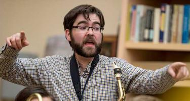 Mark Laver directing the Jazz Ensemble