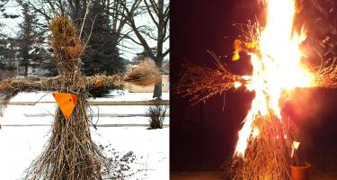 scarecrow before (left) and while burning