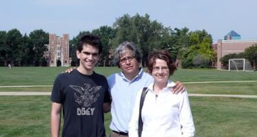 Armando Montaño '12, Mario Montaño, and Diane Alters '71 on the Grinnell College campus