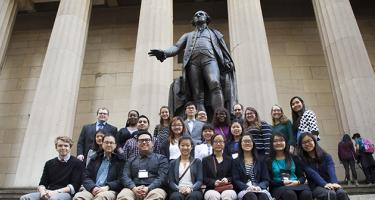 Grinnell 2015 DATA trip students at Federal Hall