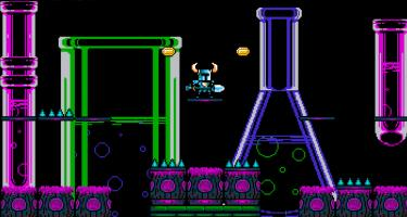 8-bit, pixel art from Shovel Knight game, showing knight with shovel amongst brightly colored flasks and test tubes