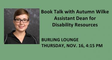 Autumn Wilke Book Talk, Nov. 16, Burling Lounge, 4:15 pm