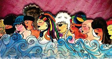 Mixed media image of a variety of women's heads above waves