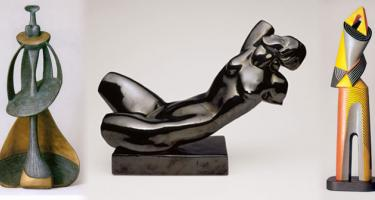 Three sculptures by Archipenko: Queen of Sheba, Reclinging Torso, and Architectural Figure