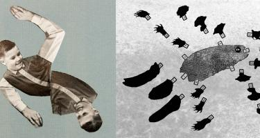 Collages 'Swim Duo' and 'Platypus' by International Collage Research and Production Team, an art collective