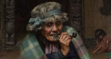Painting of an older woman smoking a pipe with a child in the background