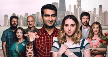Detail from The Big Sick movie poster showing the main characters and their families
