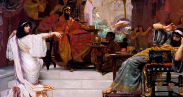 Detail from Esther Denouncing Haman, by Ernest Normand