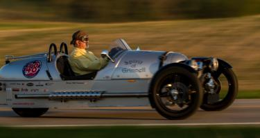 "Will Freeman in the ""Spirit of Grinnell"" Morgan 3 Wheeler"