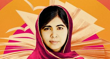 Detail of Malala with open book behind her, from the poster of He Named Me Malala