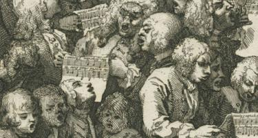 Detail of a woodcut print of singers in a loose group