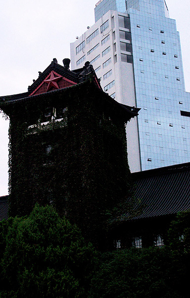 Pagoda-roofed building with skyscraper in background