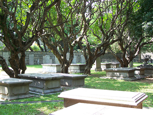 Tombs above ground with trees in the background