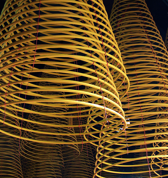 Yellow coils of incense