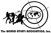 Logo with silhouette of people throwing atlatls at target with map of the world in the center